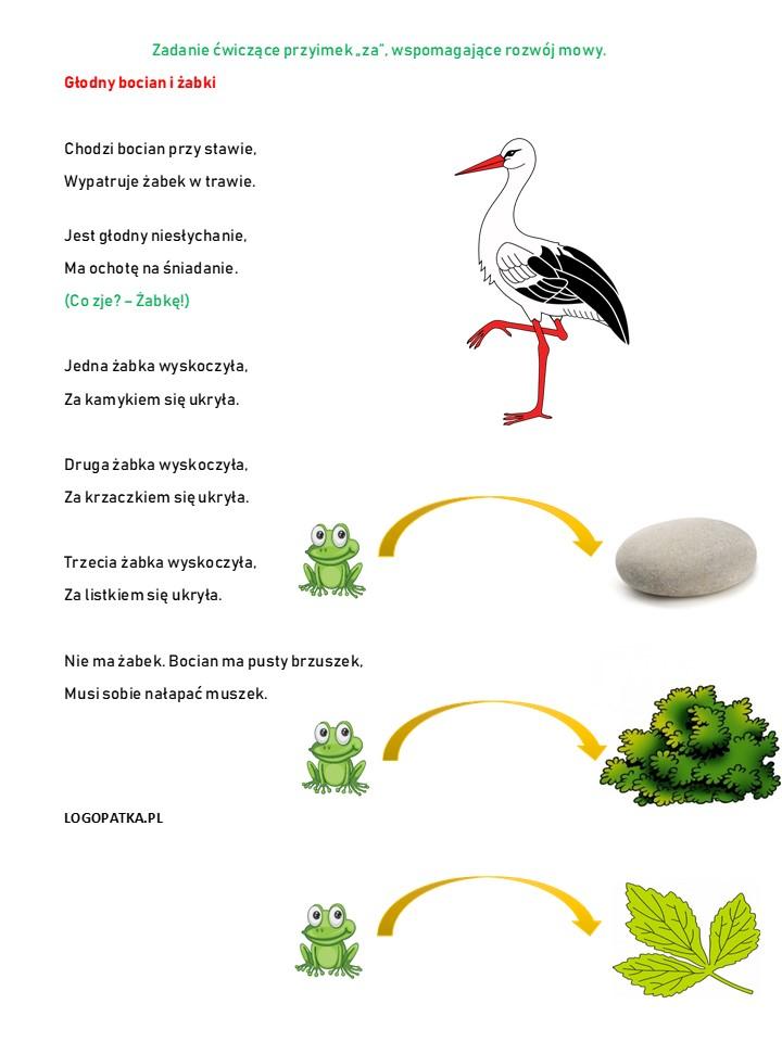Wiosenne ćwiczenia Logopedyczne Bocian I żabki Logopatka